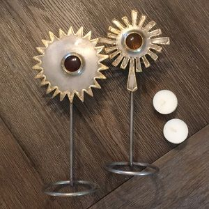 Sun / Star Hand Wrought Steel Tea Light Holders